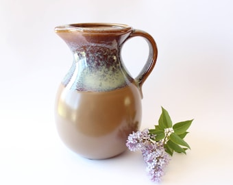 Vintage Stoneware Pitcher Ceramic Vase Boho Home Decor Blue and Brown Bohemian Pottery Jungalow