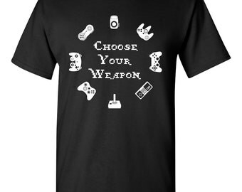 Choose Your Weapon Video Game Controller Funny Mens Adult T-shirt Black