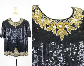 Vintage Sequin Blouse 3X Plus Size Black Gold