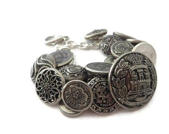 Vintage Button Bracelet, Silver Button Bracelet, Chunky Silver Bracelet, Upcycled Bracelet, Silver Bracelet, Button Jewelry, Recycled Button
