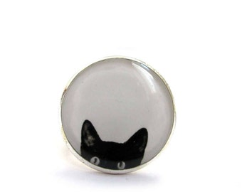 CAT RING - black Cat Ring - Cat Jewelry - Animal Ring - Kitty Ring - Kitten Peeking Cat ring - black and white - peeking cat - friend gift