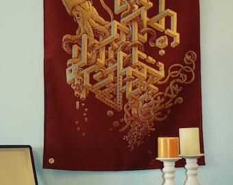 Squid Tapestry - Squid Art Wall Decor - Dorm Room Decor - Biology Teacher Gift - Librarian - Ocean Art