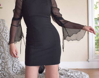 Witchy Black Silk Sleeve Blouse
