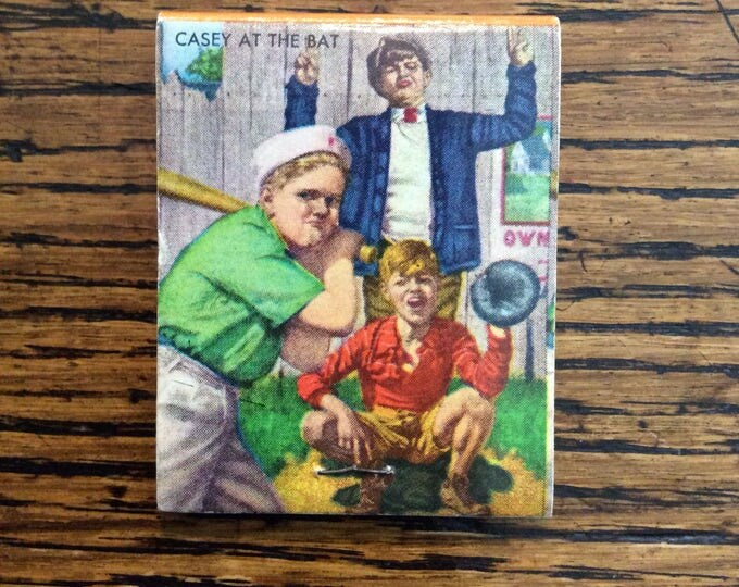 CASEY at the BAT MATCHBOOK Cover Vintage Baseball Themed Wisconsin Farm Cattle Advertising