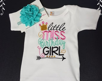 Little Miss Birthday Girl Onezee Or Ruffled Onezee Or Dress; Headband Included; Fast Shipping