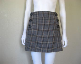 Plaid lined Wool Skirt - large