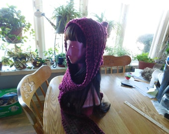 Scoodie, Winter scarf and hat together, hand made,