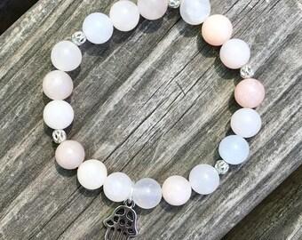 Pink Adventurine Mala Bracelet w/Hamsa Charm, Heart Chakra, Love yourself, Love others, 8mm stones