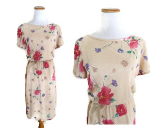 80s Dress Floral Sundress Blouson Glow Costume 1980s Beige Pink Soft Midi Boho Hipster Indie Size Medium