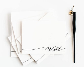 Merci - Box of 6 Letterpress Calligraphy Greeting Cards