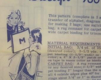 Vintage 1960s Laua Wheeler Mail Order 760 CARPET BAG orInitial Bag embroidery Transfer Pattern UNUSED