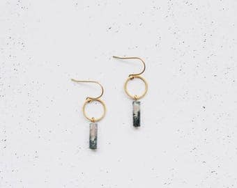 Geometric Moss Agate Brass Art Deco Earrings