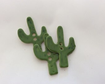 Cactus Buttons with regular button holes, Cactus Pins, Ceramic Buttons - sold individually