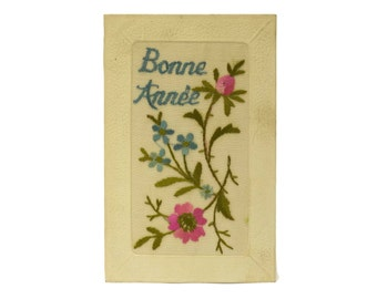 French Antique Embroidered Flower Bonne Annee Postcard. Antique New Year's Greeting Card with Pink and Blue Flowers.