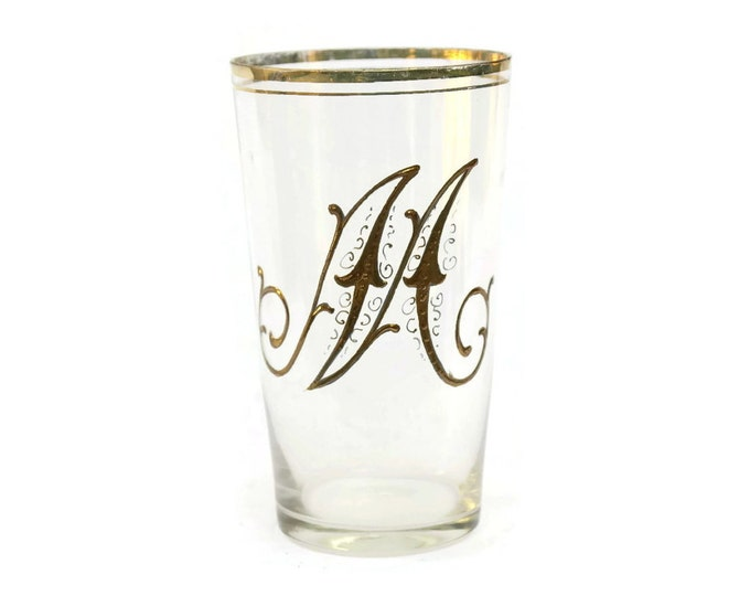 French Antique Gold Monogram Glass Tumbler. Antique initial M Birthday Gift. French Enamel Glass.