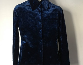 Velvet Navy Blue Blouse / dark blue velour top / size Small