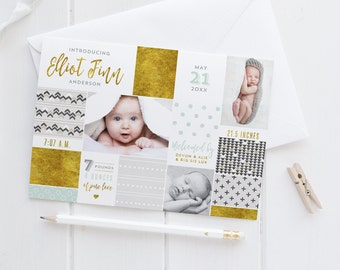 Collage Birth Announcements - Geometric Tribal Hipster Newborn Stats Collage Announcement Cards - Printable DIY