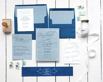 Dusty Blue Wedding Invitation Set - Navy Calligraphy-Inspired Printable Suite - Custom Color Wedding Invites - Printable or Printed