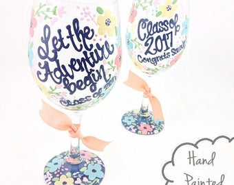 Free Personalization - Graduation Wine Glass - Let The Adventure Begin Class of 2017 Navy Floral Bloom Personalized Congrats