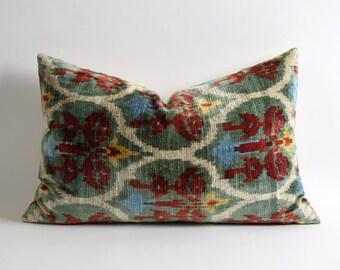 16x24 Green lumbar silk velvet ikat pillow cover // bohemian ethnic home decor shabby chic pillow // green velvet pillow // luxury pillows