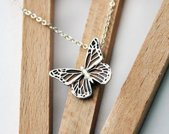 Sterling Silver Butterfly Necklace - Handcrafted Silver Jewelry - Silver Butterfly - Fine Jewelry