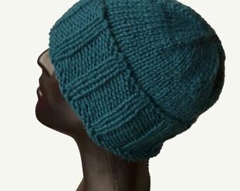 Mens Knit Hat - Ribbed Beanie - Beanie Hat - Mens Winter Hat - Petrol Knit Hat - Skull Beanie - Fisherman Hat - Winter Hat Men - Wool Hat
