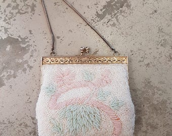 Vintage Pastel Beaded Evening Bag