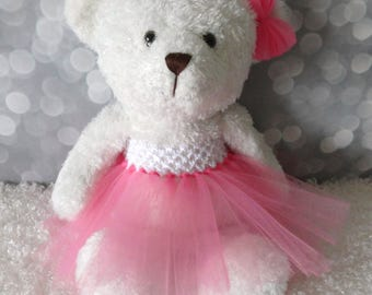 Affordable Flower Girl Gift, White Teddy Bear with Tutu in your choice of color, Wedding Keepsake