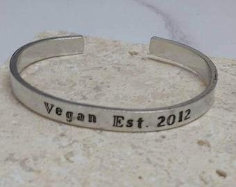 Vegan established in personalised date cuff bracelet - adjustable - handstamped