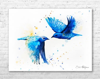 Western Bluebird Watercolor Painting Print By Slaveika Aladjova Art Animal Illustration Bird