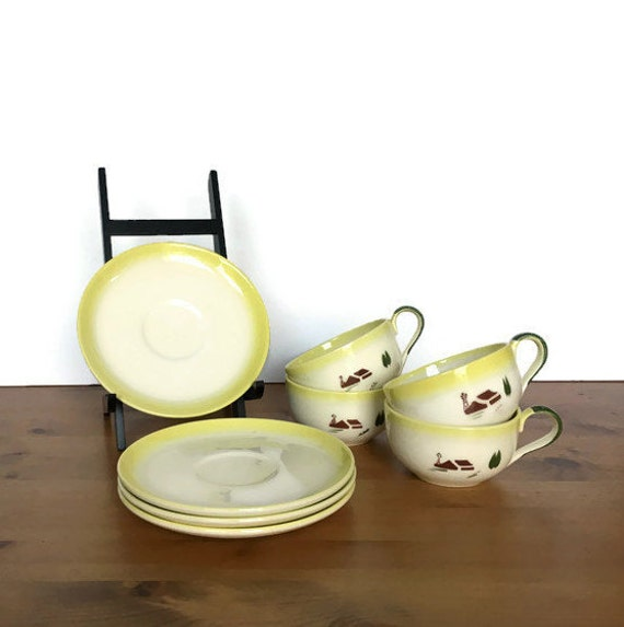 Brock of California cup and saucer set Harvest pattern farmhouse scene