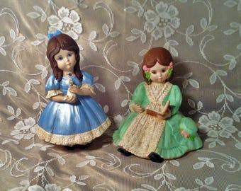 Pair of Hand Painted Victorian Girl Figurines - Blue and Green Hoop Dresses, Brown Curls - Painted Ceramic