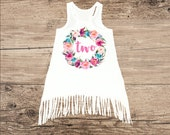Birthday Dress for Two Year Old, Second Birthday Outfit, Boho Fringe Dress