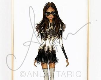 "Fashion Illustration Print, Balmain, 8x10"""