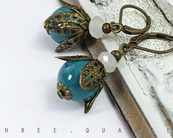 Earrings, petrol, turquoise, blue, white, beads, antique, bronze, winter, vintage, retro, nostalgic, boheme, gift