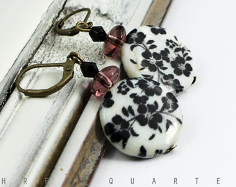 Earrings, black, white, cherry blossoms, Japan, antique, bronze, disc, porcelain, flowers, vintage, romantic, hippie, gift, elegant