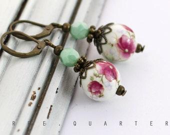 earrings, roses, shabby, chic, antique, bronze, flowers, white, porcelain, mint, pink, mint, green, vintage, retro, nostalgic, boho
