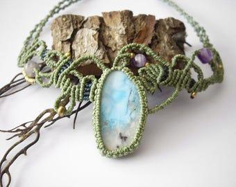 Macrame choker, Macrame necklace, Larimar necklace, Larimar choker, Larimar jewelry, Amethyst, Fairy jewelry, Unique piece, Boho style