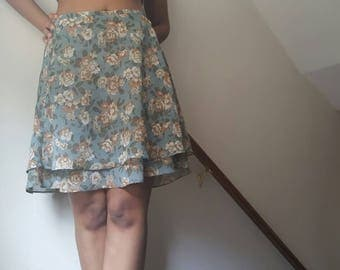 SALE 90's Floral Express Ruffle Skirt