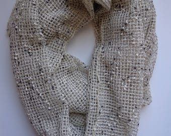 Vintage 90s Neutral Textured Grid Knit Infinity Scarf Normcore Aesthetic Fashion Accessory, Headscarf, Wrap, Retro Nineties Style