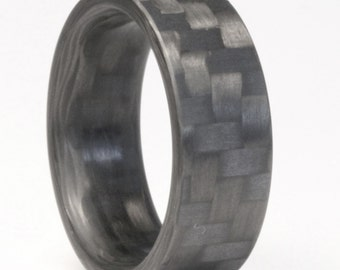 Twill Carbon Fiber Ring, Mens Engagement Ring, Mens Wedding Ring, Women's Engagement Ring, Women's Wedding Ring