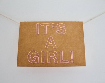 It's a girl! | Pack of 10 hand sewn A6 card