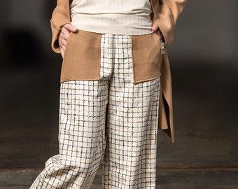 Wide Leg pants, Palazzo pants, wool,Pants, Winter pants Checked Pants, Wool warm Pants, Pants with large pockets, Modern Pants by Rote Tulpe
