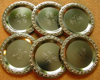 Vintage Set of 6 little metal plates 1970s