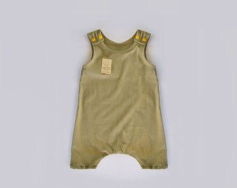 Organic Summer olive green Harem Romper for babies, toddlers and kids