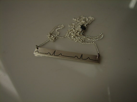 Custom EKG, heartbeat solid sterling silver bar necklace. Horizontal bar, Vertical bar, Dog tag, heart shape, any shape you want