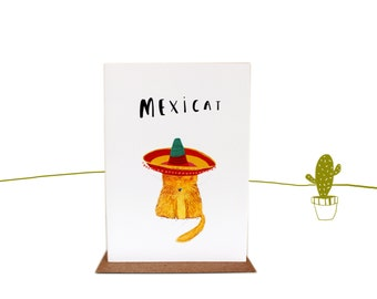 Mexicat any occasion cat illustrated Greetings card