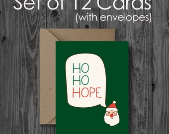 SET OF 12 Christmas Cards - ho ho hope - Holiday Greeting Card