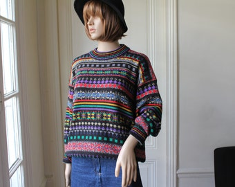 Jaquard sweater hipster multicolor mixed patterns 80s vintage sweater grunge pattern knit jumper patterned sweater colors rad - XS / S / M