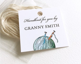 """Knitting Tags, Personalized Clothing Hang Tags, Knitting Gift, Garment Tags, Yarn Drawing, 16 Tags w/Packet of Ties, 2""""x 2"""""""